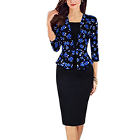 Polyester   Cotton Women Business Dress Suit printed patchwork black and blue