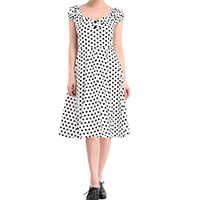 Spandex & Polyester Princess One-piece Dress, different size for choice, printed, dot, white, Sold By PC