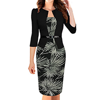 Polyester   Cotton Women Business Dress Suit printed patchwork black Sold By PC