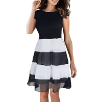 Chiffon One-piece Dress patchwork black Sold By PC
