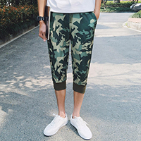Polyester Middle Waist Men Capri Pants, different size for choice, printed, camouflage, army green, Sold By PC