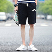 Polyester Middle Waist Men Capri Pants, different size for choice, printed, geometric, black, Sold By PC