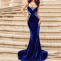 Polyester Long Evening Dress backless off shoulder & floor-length with Lace patchwork blue Sold By PC