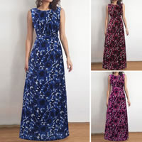 Polyester One-piece Dress, backless & different size for choice & floor-length, printed, floral, more colors for choice, Sold By PC