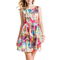 Polyester & Cotton One-piece Dress printed geometric multi-colored Sold By PC