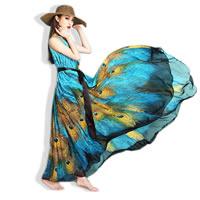 Chiffon Plus Size Beach Dress floor-length printed peacock feather pattern blue