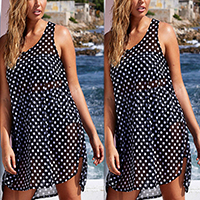 Chiffon Plus Size One-piece Dress, different size for choice & transparent, printed, dot, black, Sold By PC