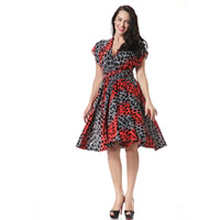Viscose One-piece Dress multi-way & backless printed geometric red Sold By PC