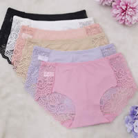 Viscose & Lace Middle Waist Sexy Thong, transparent & breathable, floral, more colors for choice, Size:Free Size, 12PCs/Lot, Sold By Lot