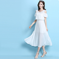 Chiffon One-piece Dress, different size for choice & off shoulder, Solid, more colors for choice, Sold By PC