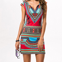 Polyester A-line One-piece Dress, different size for choice, printed, geometric, red, Sold By PC