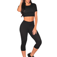 Spandex & Polyester Women Sportswear Set, different size for choice, Pants & top, Solid, more colors for choice, Sold By PC