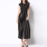 Chiffon Women Casual Set Pants   top printed striped black