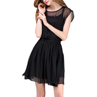 Chiffon One-piece Dress, different size for choice, Solid, black, Sold By PC
