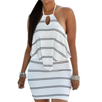 Spandex & Polyester Halter Dress, backless & different size for choice & hollow & above knee, striped, more colors for choice, Sold By PC
