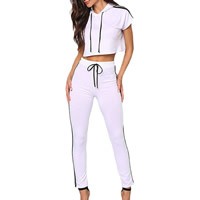 Spandex & Polyester Women Sportswear Set, different size for choice, short sleeve blouses & Pants, Solid, more colors for choice, Sold By Set