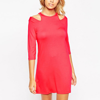 Polyester One-piece Dress, different size for choice & off shoulder, Solid, more colors for choice, Sold By PC