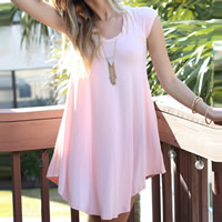 Knitted One-piece Dress, different size for choice, Solid, pink, Sold By PC