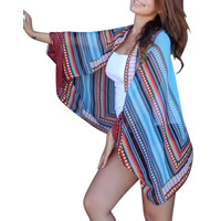 Chiffon Swimming Cover Ups, printed, geometric, blue, Size:Free Size, Sold By PC