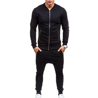 Polyester & Cotton Men Casual Set, different size for choice, Pants & coat, Solid, black, Sold By Set