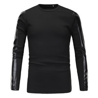 Polyester & Cotton Men Long Sleeve T-shirt, different size for choice, with PU, patchwork, black, Sold By PC