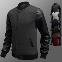 Polyester Plus Size Men Coat with PU Leather patchwork Sold By PC