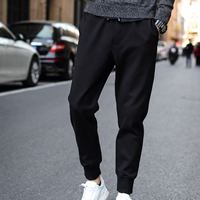 Polyester & Cotton Men Casual Pants, different size for choice, Solid, black, Sold By PC