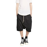 Cotton Men Capri Pants Solid black