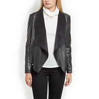 PU Leather Women Coat Solid black Sold By PC