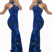 Polyester Long Evening Dress backless off shoulder & floor-length printed floral blue Sold By PC