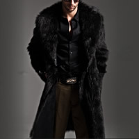 Artificial Wool Plus Size Men Coat Solid