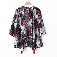 Polyester Women Sun Protection Clothing printed floral wine red Sold By PC