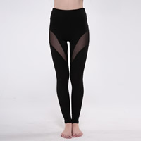 Polyester Women Yoga Pants, different size for choice & transparent, with Gauze, patchwork, black, Sold By PC