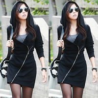 Cotton Sweatshirts Dress Solid black Sold By PC