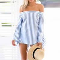 Cotton Long Sleeve Nightclub Top backless off shoulder printed striped light blue Sold By PC