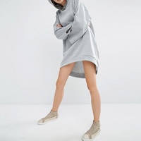 Cotton Sweatshirts Dress short front long back Solid grey Sold By PC