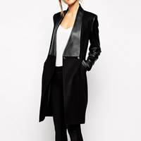 Cashmere Women Coat with PU Leather patchwork black Sold By PC