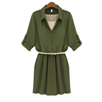 Polyester One-piece Dress with belt Solid Sold By PC