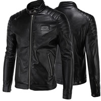 PU Leather Plus Size Men Coat Solid black Sold By PC
