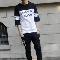 Cotton Men Short Sleeve T-Shirt, different size for choice, printed, letter, more colors for choice, Sold By PC