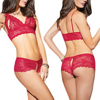 Spandex & Polyester Sexy Bra Set hollow with Lace thong & bra Solid red Sold By Set