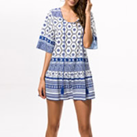 Polyester One-piece Dress, different size for choice, printed, geometric, blue, Sold By PC
