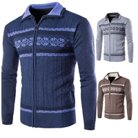 Polyester & Cotton Men Sweater, different size for choice, knitted, geometric, more colors for choice, Sold By PC