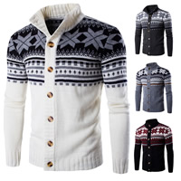 Polyester   Cotton Men Cardigan knitted patchwork