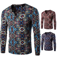 Polyester & Cotton Men Long Sleeve T-shirt, different size for choice, printed, geometric, more colors for choice, Sold By PC