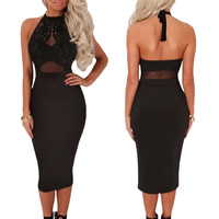 Spandex & Polyester Halter Dress, backless & different size for choice & off shoulder & transparent, with Gauze, patchwork, black, Sold By PC
