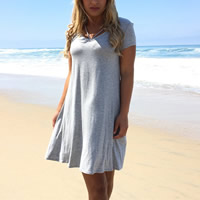 Cotton One-piece Dress, different size for choice, Solid, grey, Sold By PC