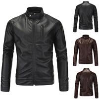 PU Plus Size Men Jacket Solid