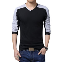 Cotton Plus Size Men Long Sleeve T-shirt, different size for choice, patchwork, more colors for choice, Sold By PC