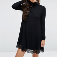 Polyester Autumn and Winter Dress, different size for choice, with Lace, patchwork, black, Sold By PC